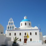 Celebrating Assuption Day on 15th August in Santorini