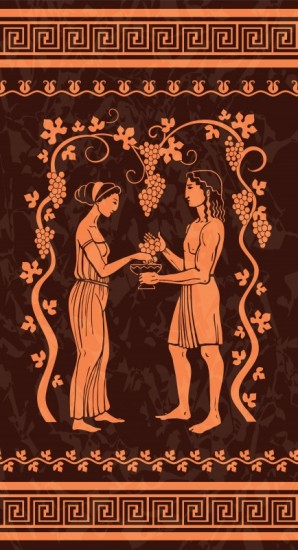 Grapes and wine ancient greek illustration
