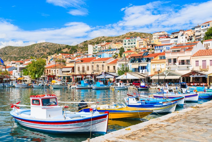 colourful Greek fishing boats _334980224